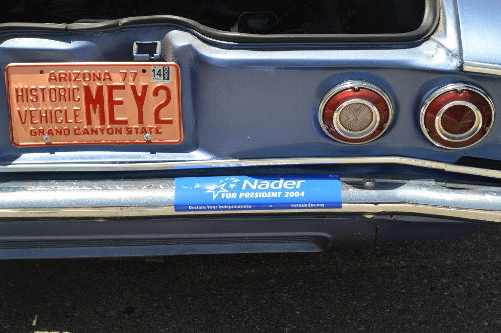 How about the Ralph Nader for President bumper sticker?