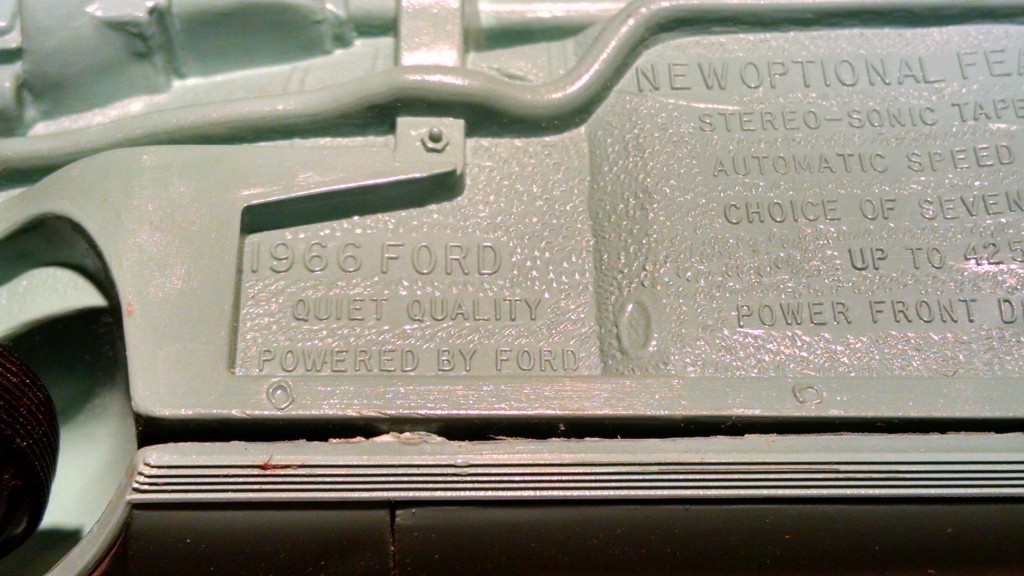 This is the bottom of a 1960s Ford Galaxy.  You can see a list of features.